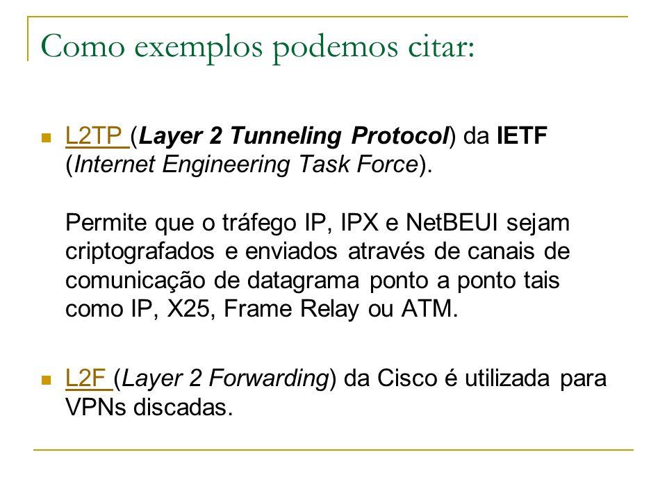 Como exemplos podemos citar: L2TP (Layer 2 Tunneling Protocol) da IETF (Internet Engineering Task Force). Permite que o tráfego IP, IPX e NetBEUI seja