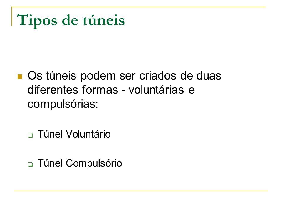 Tipos de túneis Os túneis podem ser criados de duas diferentes formas - voluntárias e compulsórias: Túnel Voluntário Túnel Compulsório