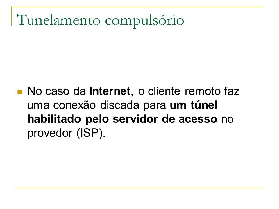 Tunelamento compulsório No caso da Internet, o cliente remoto faz uma conexão discada para um túnel habilitado pelo servidor de acesso no provedor (IS