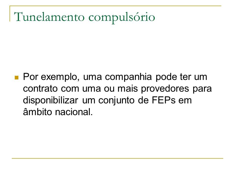 Tunelamento compulsório Por exemplo, uma companhia pode ter um contrato com uma ou mais provedores para disponibilizar um conjunto de FEPs em âmbito n