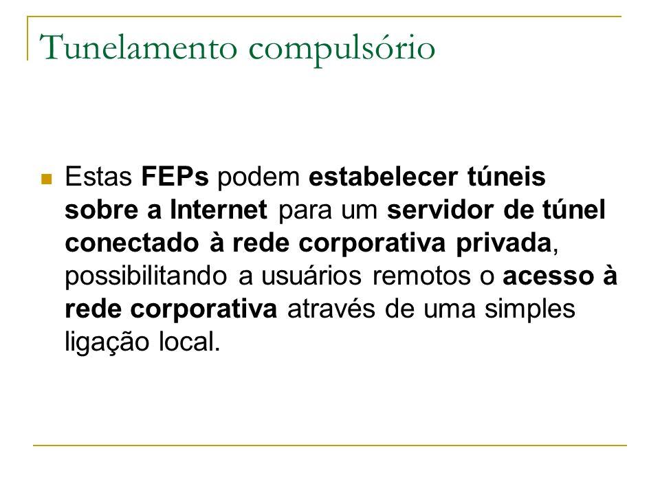 Tunelamento compulsório Estas FEPs podem estabelecer túneis sobre a Internet para um servidor de túnel conectado à rede corporativa privada, possibili