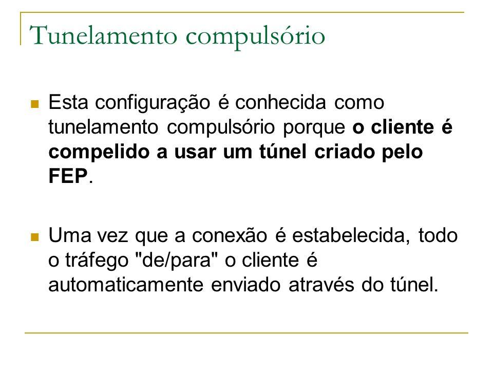 Tunelamento compulsório Esta configuração é conhecida como tunelamento compulsório porque o cliente é compelido a usar um túnel criado pelo FEP. Uma v