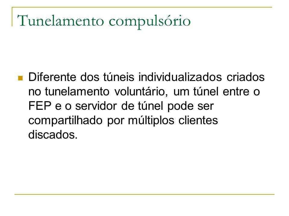 Tunelamento compulsório Diferente dos túneis individualizados criados no tunelamento voluntário, um túnel entre o FEP e o servidor de túnel pode ser c