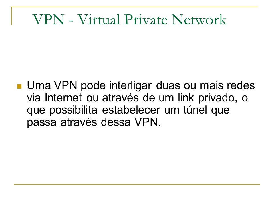 VPN - Virtual Private Network Uma VPN pode interligar duas ou mais redes via Internet ou através de um link privado, o que possibilita estabelecer um