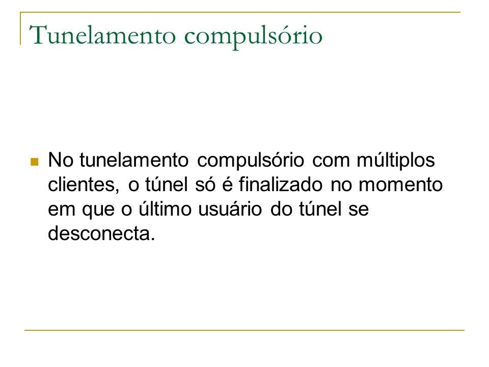 Tunelamento compulsório No tunelamento compulsório com múltiplos clientes, o túnel só é finalizado no momento em que o último usuário do túnel se desc