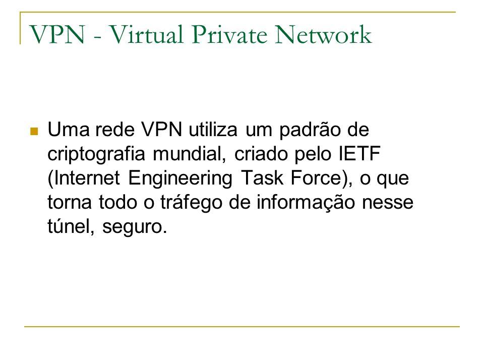 VPN - Virtual Private Network Uma rede VPN utiliza um padrão de criptografia mundial, criado pelo IETF (Internet Engineering Task Force), o que torna