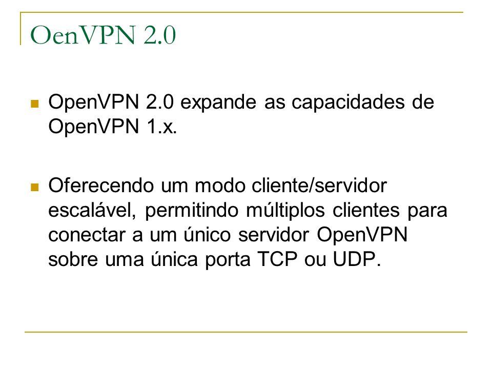 OenVPN 2.0 OpenVPN 2.0 expande as capacidades de OpenVPN 1.x. Oferecendo um modo cliente/servidor escalável, permitindo múltiplos clientes para conect