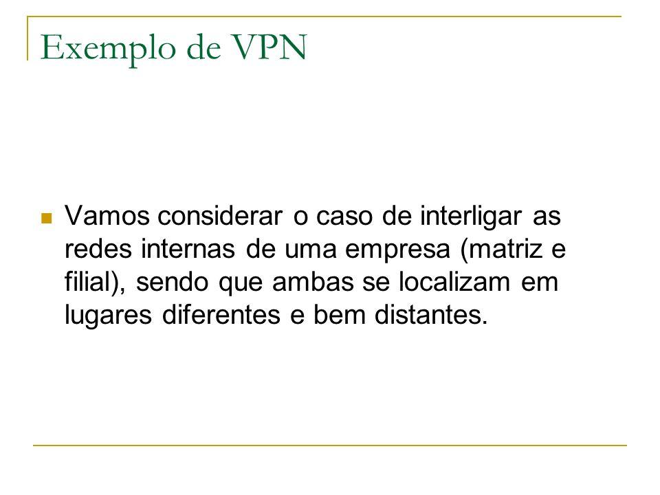 Exemplo de VPN Vamos considerar o caso de interligar as redes internas de uma empresa (matriz e filial), sendo que ambas se localizam em lugares difer