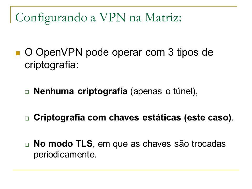 Configurando a VPN na Matriz: O OpenVPN pode operar com 3 tipos de criptografia: Nenhuma criptografia (apenas o túnel), Criptografia com chaves estáti