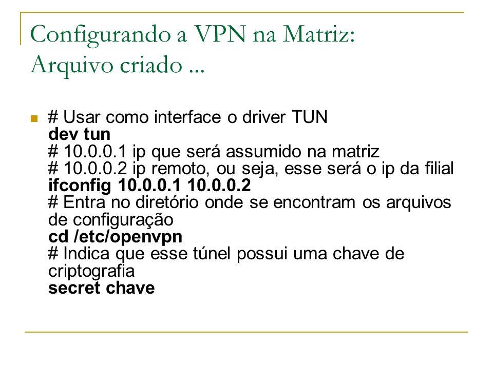 Configurando a VPN na Matriz: Arquivo criado... # Usar como interface o driver TUN dev tun # 10.0.0.1 ip que será assumido na matriz # 10.0.0.2 ip rem