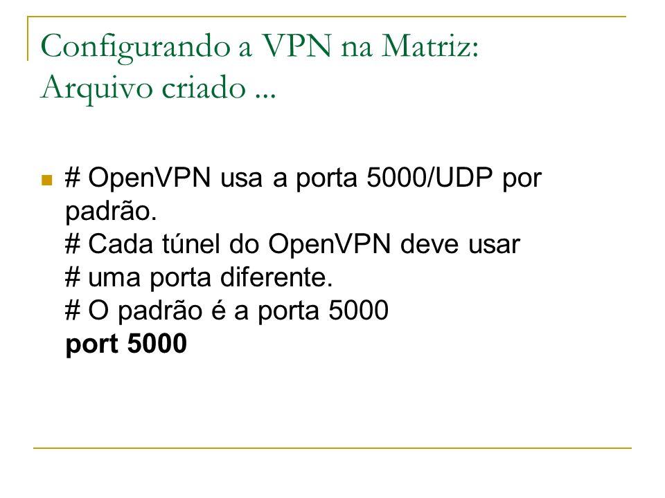 Configurando a VPN na Matriz: Arquivo criado... # OpenVPN usa a porta 5000/UDP por padrão. # Cada túnel do OpenVPN deve usar # uma porta diferente. #