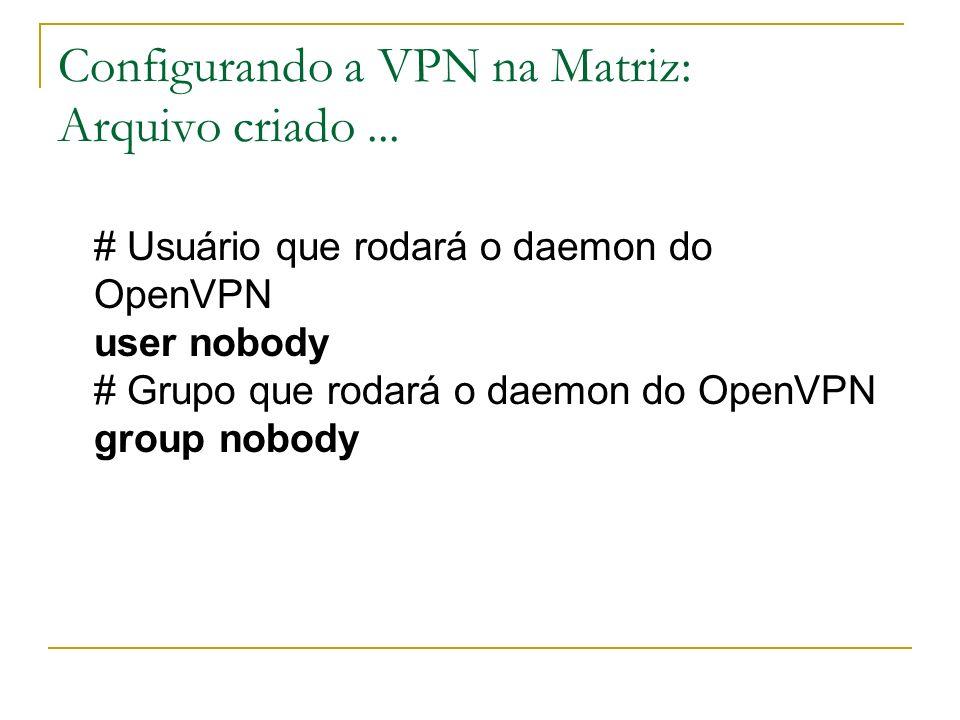 Configurando a VPN na Matriz: Arquivo criado... # Usuário que rodará o daemon do OpenVPN user nobody # Grupo que rodará o daemon do OpenVPN group nobo