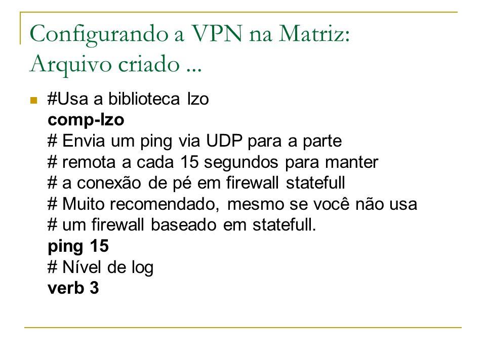 Configurando a VPN na Matriz: Arquivo criado... #Usa a biblioteca lzo comp-lzo # Envia um ping via UDP para a parte # remota a cada 15 segundos para m