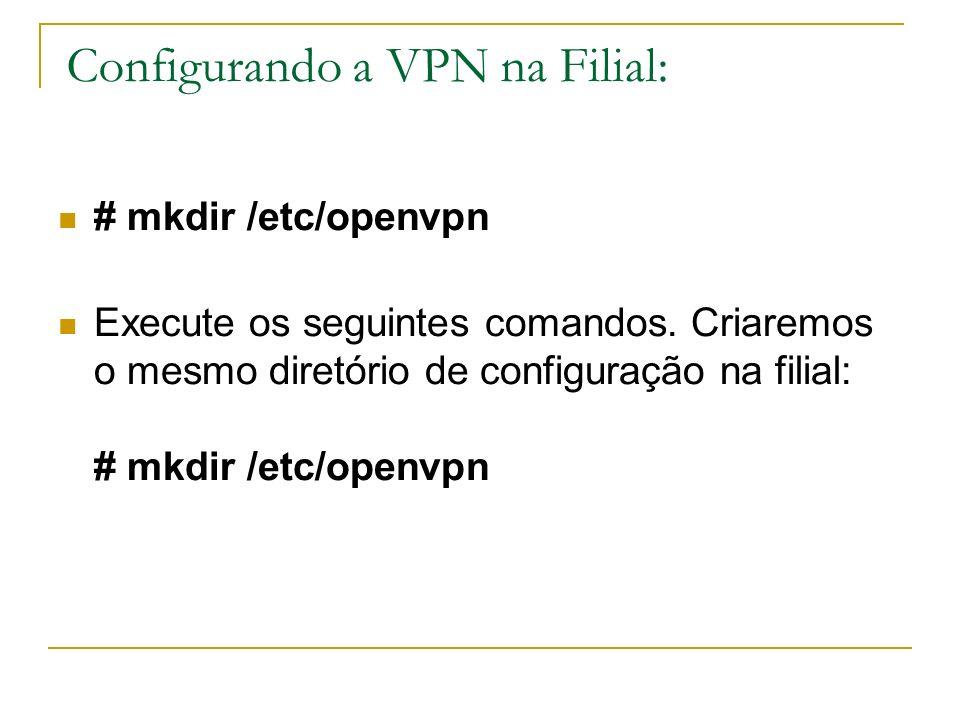 Configurando a VPN na Filial: # mkdir /etc/openvpn Execute os seguintes comandos. Criaremos o mesmo diretório de configuração na filial: # mkdir /etc/