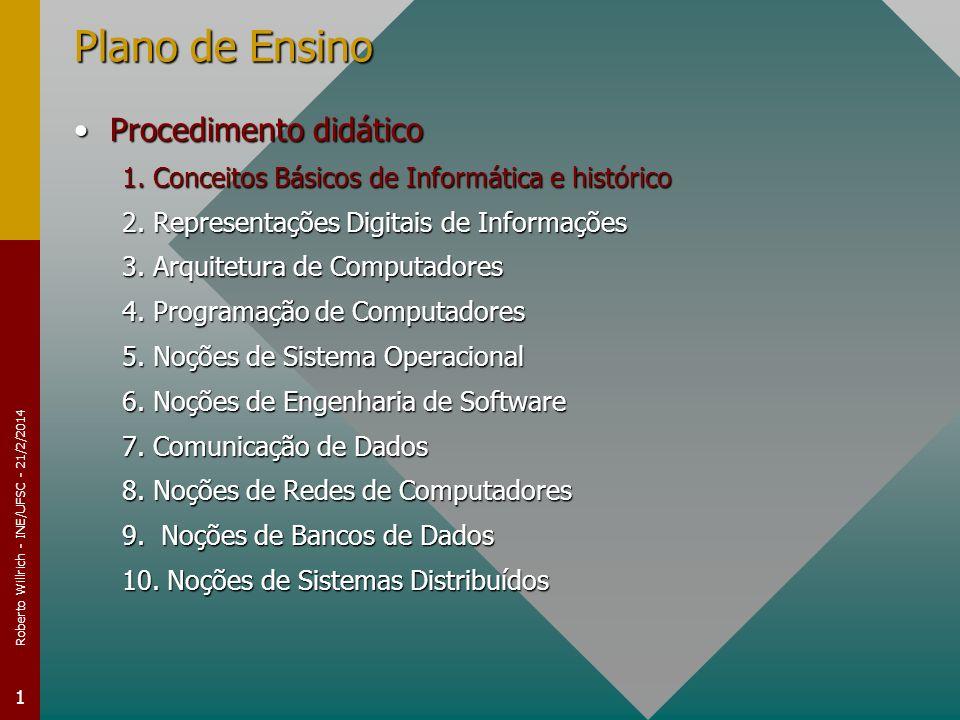 Roberto Willrich - INE/UFSC - 21/2/2014 1 Plano de Ensino Procedimento didáticoProcedimento didático 1. Conceitos Básicos de Informática e histórico 2