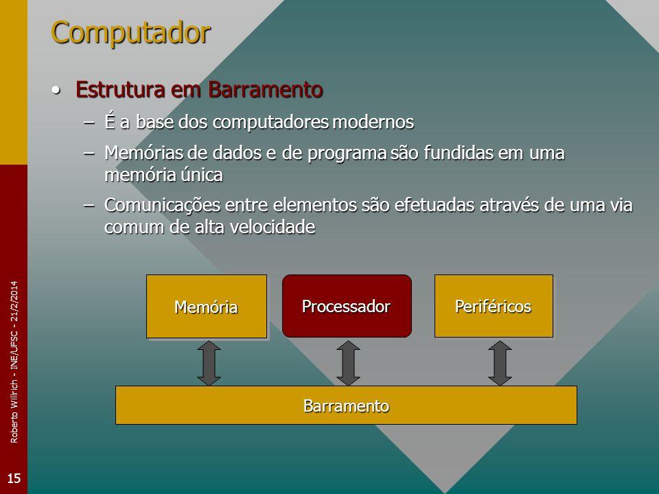 Roberto Willrich - INE/UFSC - 21/2/2014 15 Computador Estrutura em BarramentoEstrutura em Barramento –É a base dos computadores modernos –Memórias de