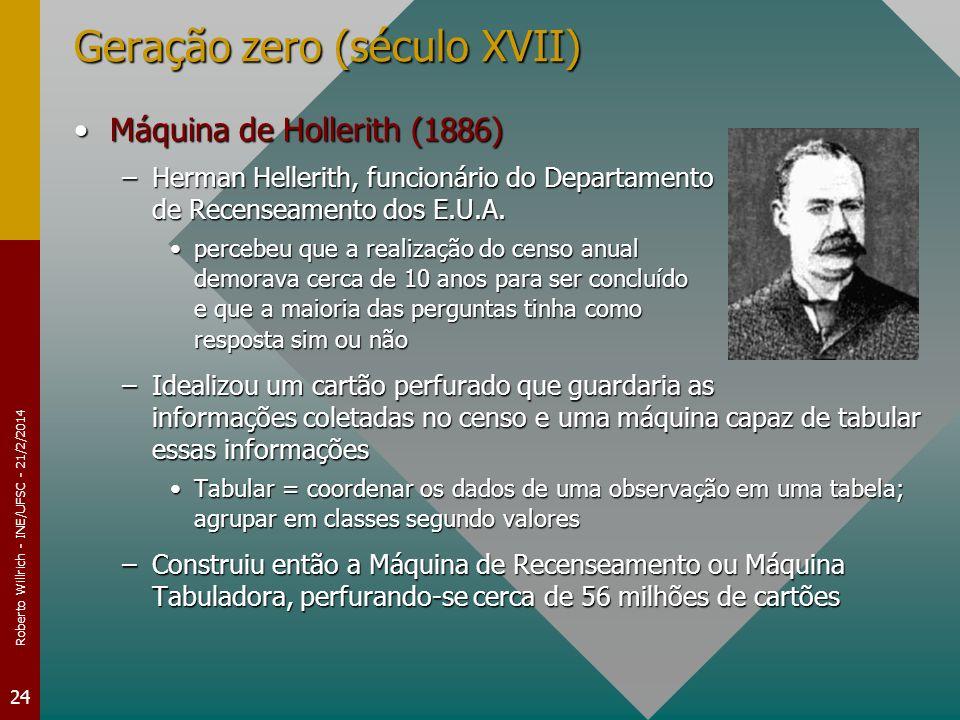 Roberto Willrich - INE/UFSC - 21/2/2014 24 Geração zero (século XVII) Máquina de Hollerith (1886)Máquina de Hollerith (1886) –Herman Hellerith, funcio