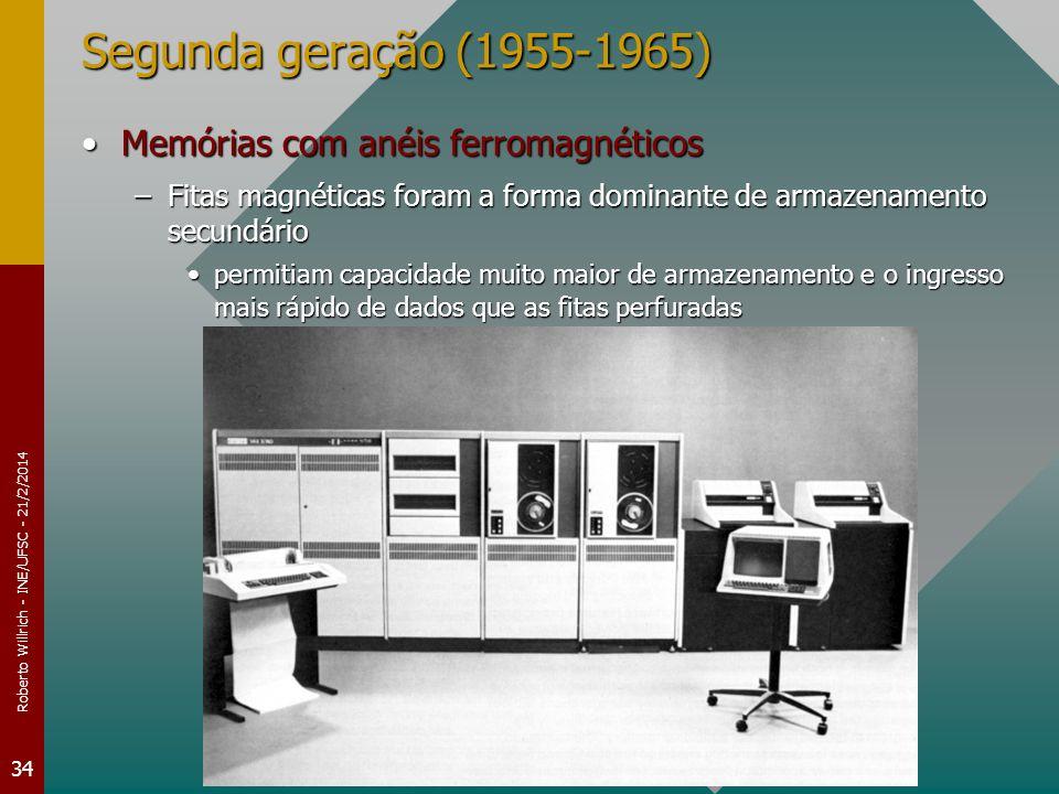 Roberto Willrich - INE/UFSC - 21/2/2014 34 Segunda geração (1955-1965) Memórias com anéis ferromagnéticosMemórias com anéis ferromagnéticos –Fitas mag