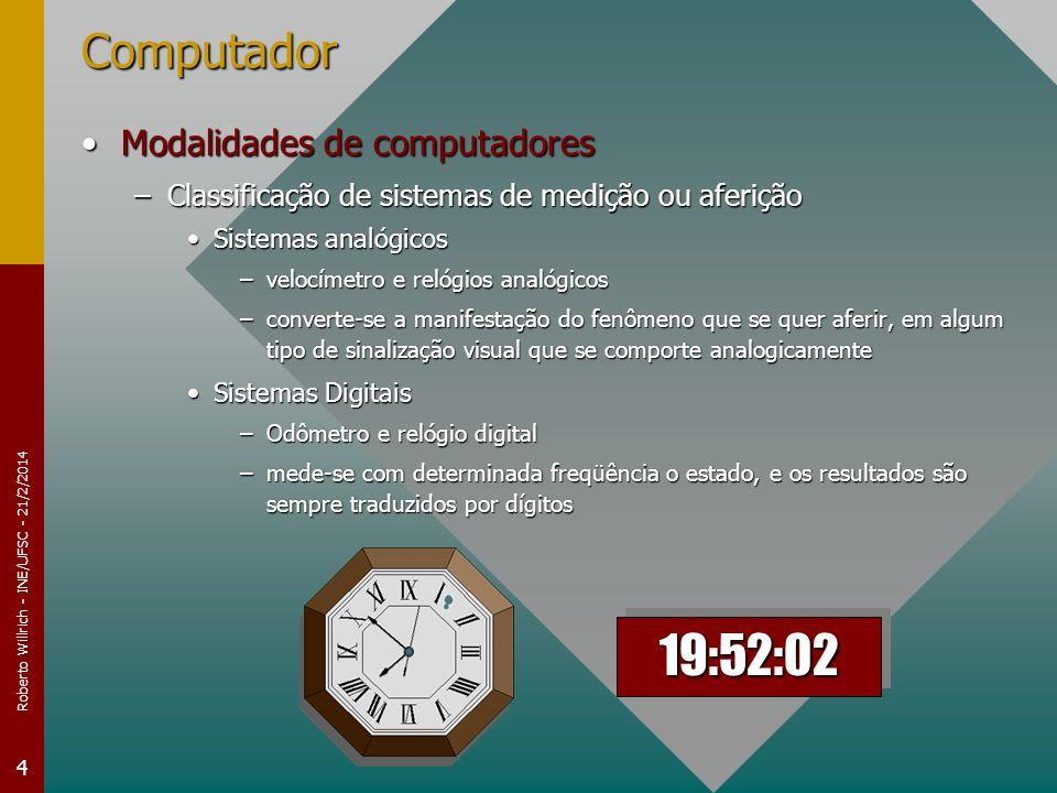 Roberto Willrich - INE/UFSC - 21/2/2014 4 Computador Modalidades de computadoresModalidades de computadores –Classificação de sistemas de medição ou a