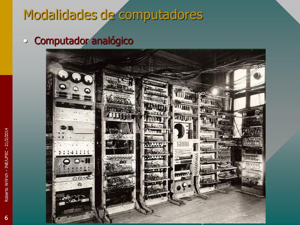 Roberto Willrich - INE/UFSC - 21/2/2014 6 Modalidades de computadores Computador analógicoComputador analógico