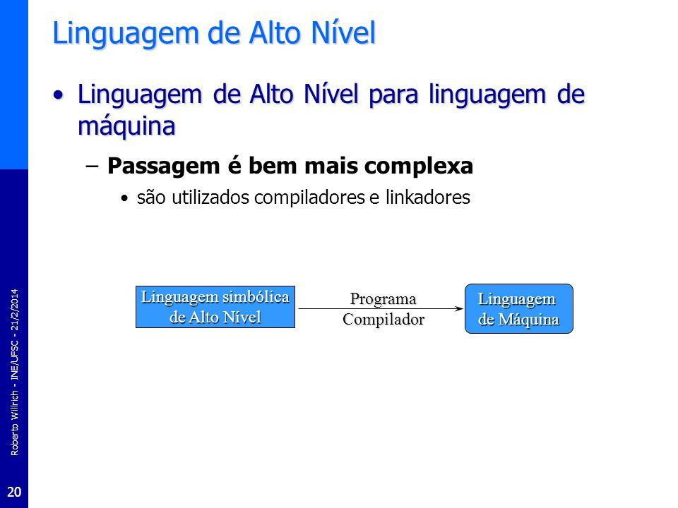 Roberto Willrich - INE/UFSC - 21/2/2014 20 Linguagem de Alto Nível Linguagem de Alto Nível para linguagem de máquinaLinguagem de Alto Nível para lingu