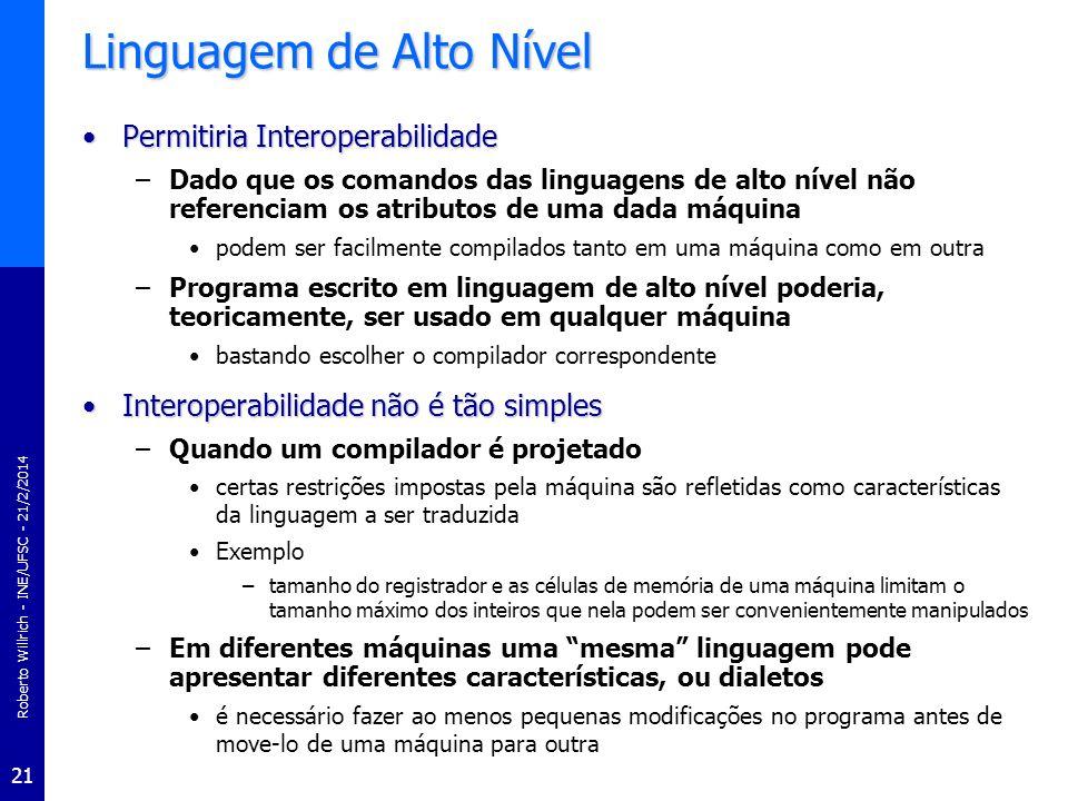 Roberto Willrich - INE/UFSC - 21/2/2014 21 Linguagem de Alto Nível Permitiria InteroperabilidadePermitiria Interoperabilidade –Dado que os comandos da