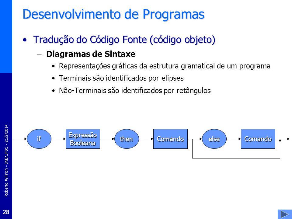 Roberto Willrich - INE/UFSC - 21/2/2014 29 Desenvolvimento de Programas Tradução do Código Fonte (código objeto)Tradução do Código Fonte (código objeto) –Árvore sintática Processo de análise sintática de um programa consiste em construir uma árvore de sintaxe para o programa-fonte Por isso as regras de sintaxe que descrevem a estrutura gramatical de um programa não devem propiciar que duas ou mais árvores de sintaxe distintas possam ser construídas para a mesma cadeia –dado que isto levaria a ambigüidades no analisador sintático Esta falha pode ser bastante sutil –A própria regra de if-then-else apresentada contém esse defeito –If B1 then if B2 then S1 else S2 »aceita duas árvores de sintaxe