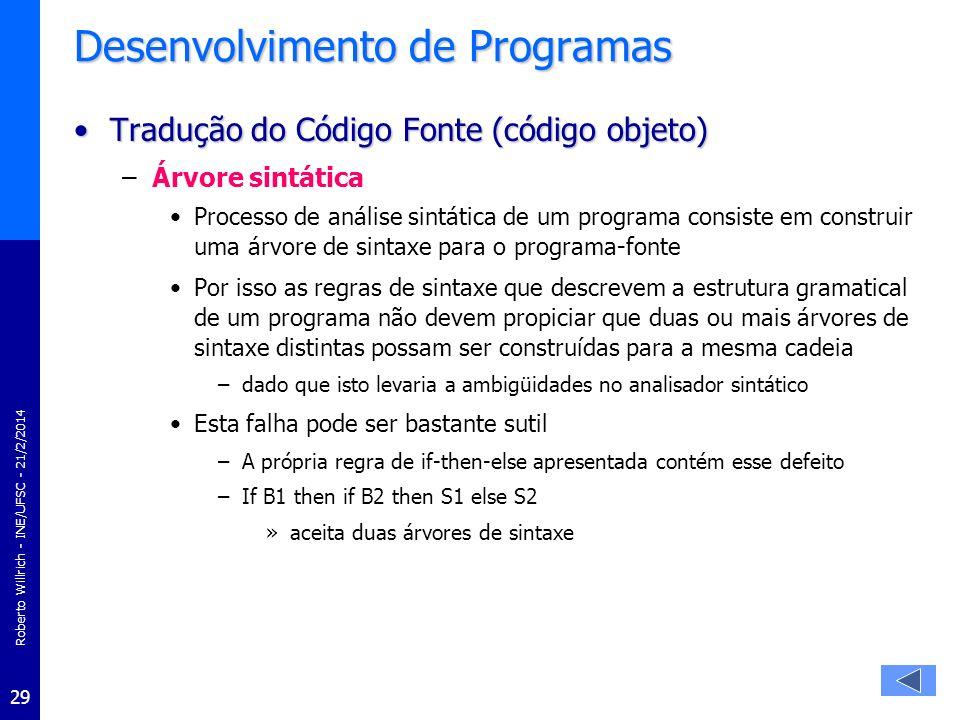 Roberto Willrich - INE/UFSC - 21/2/2014 29 Desenvolvimento de Programas Tradução do Código Fonte (código objeto)Tradução do Código Fonte (código objet
