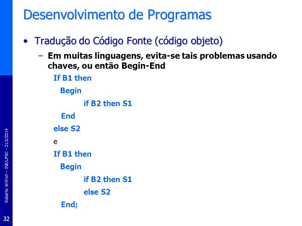 Roberto Willrich - INE/UFSC - 21/2/2014 32 Desenvolvimento de Programas Tradução do Código Fonte (código objeto)Tradução do Código Fonte (código objet