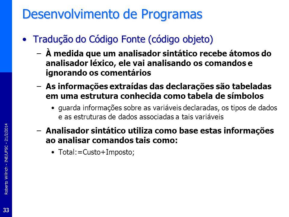 Roberto Willrich - INE/UFSC - 21/2/2014 33 Desenvolvimento de Programas Tradução do Código Fonte (código objeto)Tradução do Código Fonte (código objet
