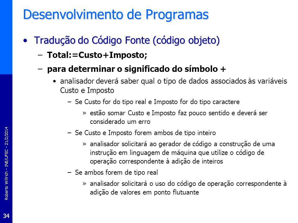 Roberto Willrich - INE/UFSC - 21/2/2014 34 Desenvolvimento de Programas Tradução do Código Fonte (código objeto)Tradução do Código Fonte (código objet