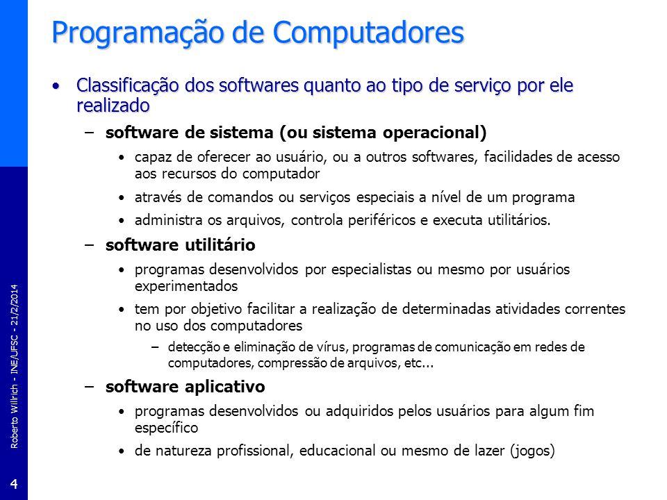 Roberto Willrich - INE/UFSC - 21/2/2014 4 Programação de Computadores Classificação dos softwares quanto ao tipo de serviço por ele realizadoClassific