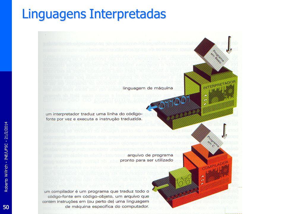 Roberto Willrich - INE/UFSC - 21/2/2014 51 Linguagens Interpretadas Compilador Versus InterpretadorCompilador Versus Interpretador –Programa compilado executa mais rapidamente que um programa interpretado –Vantagem do interpretador é que ele não necessita passar por um estágio de compilação durante a qual as instruções de máquina são gerados Processo de tradução pode consumir muito tempo se o programa é longo Interpretador pode executar imediatamente os programas de alto- nível –Interpretadores são algumas vezes usados durante o desenvolvimento de um programa quando um programador deseja testar rapidamente seu programa –Interpretadores são com freqüência usados na educação pois eles permitem que o estudante programe interativamente.