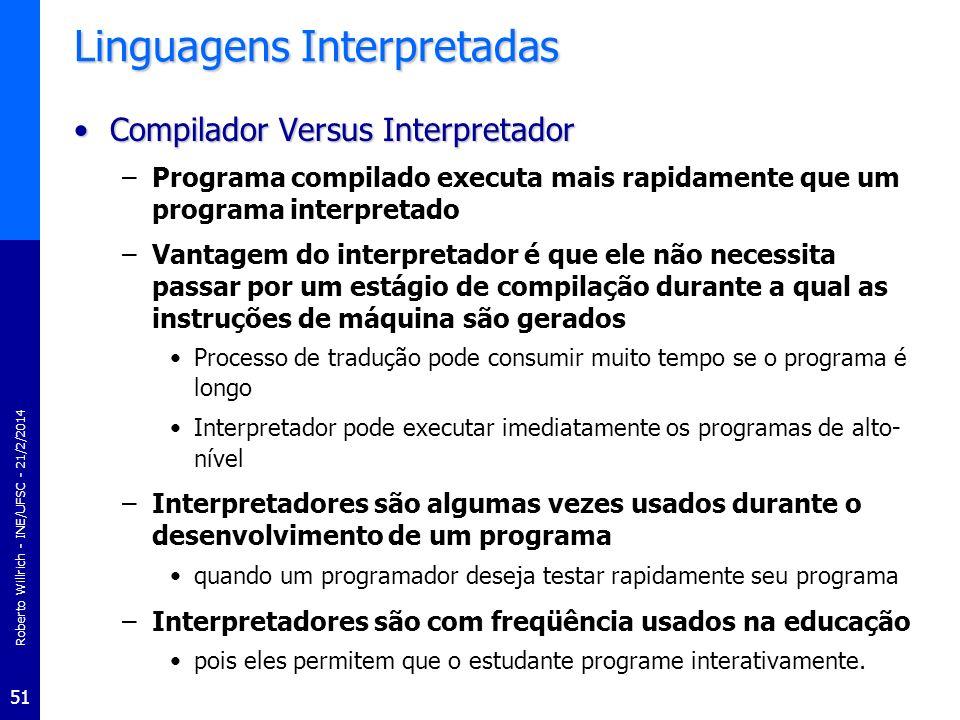Roberto Willrich - INE/UFSC - 21/2/2014 51 Linguagens Interpretadas Compilador Versus InterpretadorCompilador Versus Interpretador –Programa compilado
