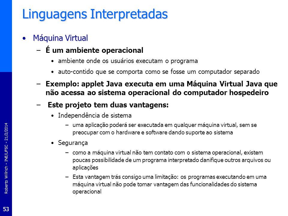 Roberto Willrich - INE/UFSC - 21/2/2014 54 Linguagens Interpretadas JavaJava –Uma das linguagens interpretadas mais conhecidas no momento –Linguagem de programação de alto nível, desenvolvida pela Sun Microsystems.