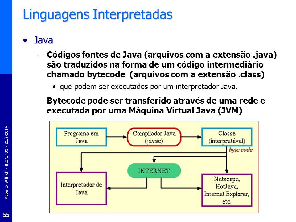 Roberto Willrich - INE/UFSC - 21/2/2014 55 Linguagens Interpretadas JavaJava –Códigos fontes de Java (arquivos com a extensão.java) são traduzidos na