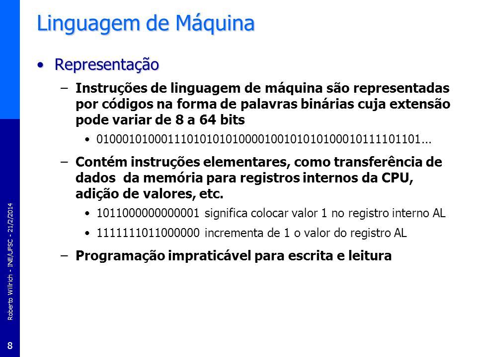 Roberto Willrich - INE/UFSC - 21/2/2014 9 Linguagem Hexadecimal Linguagem HexadecimalLinguagem Hexadecimal –Simplifica a compreensão e a programação de computadores seqüência de bits é representada por números hexadecimais –Notação em hexadecimal 1011000000000001 b = B001 h significa colocar valor 1 em AL 1111111011000000 b = FEC0 h incrementa de 1 AL –Programação de aplicações diretamente em linguagem de máquina é impraticável mesmo representada na notação hexadecimal