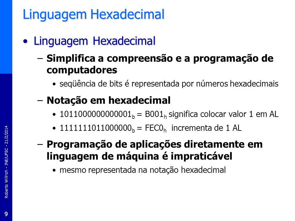 Roberto Willrich - INE/UFSC - 21/2/2014 9 Linguagem Hexadecimal Linguagem HexadecimalLinguagem Hexadecimal –Simplifica a compreensão e a programação d