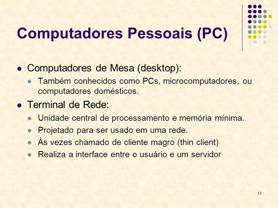 13 Computadores Pessoais (PC) Computadores de Mesa (desktop): Também conhecidos como PCs, microcomputadores, ou computadores domésticos. Terminal de R