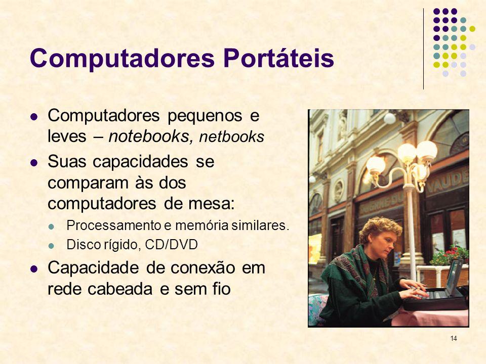 14 Computadores Portáteis Computadores pequenos e leves – notebooks, netbooks Suas capacidades se comparam às dos computadores de mesa: Processamento