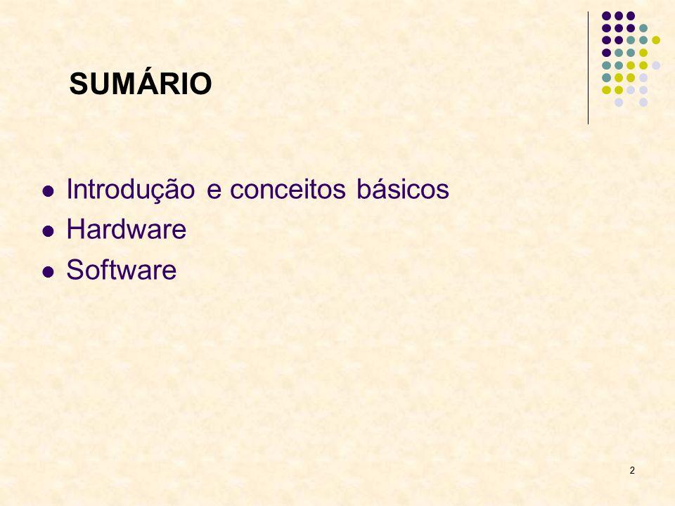 43 SUMÁRIO Introdução e conceitos básicos Hardware Software Software básico Sistema operacional Linguagens de programação Utilitários Software aplicativo