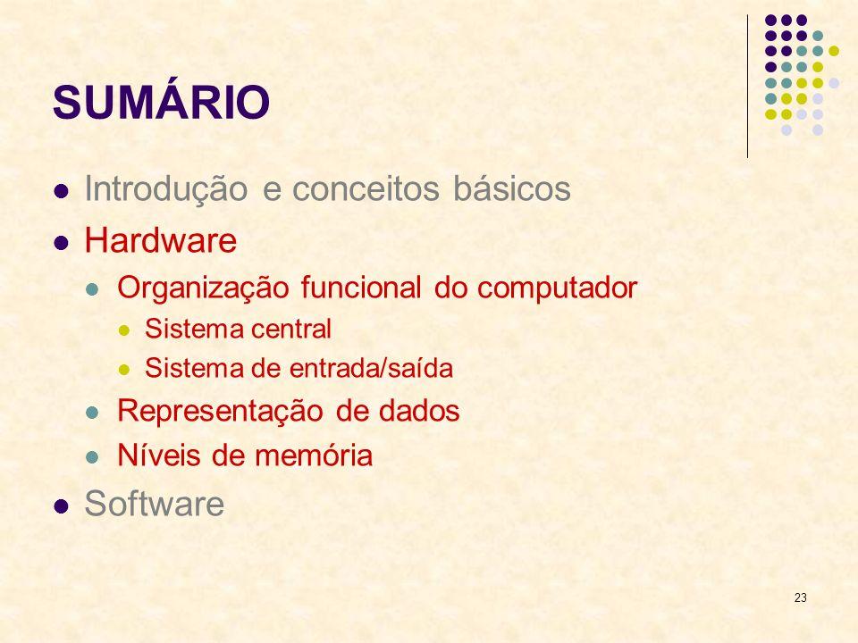 23 SUMÁRIO Introdução e conceitos básicos Hardware Organização funcional do computador Sistema central Sistema de entrada/saída Representação de dados