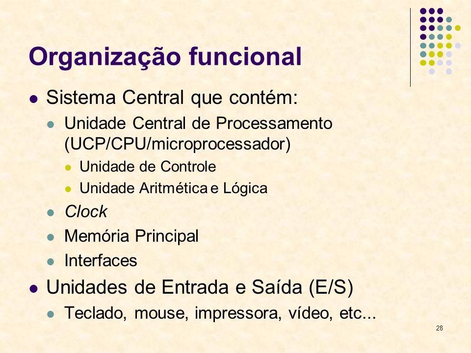 28 Organização funcional Sistema Central que contém: Unidade Central de Processamento (UCP/CPU/microprocessador) Unidade de Controle Unidade Aritmétic