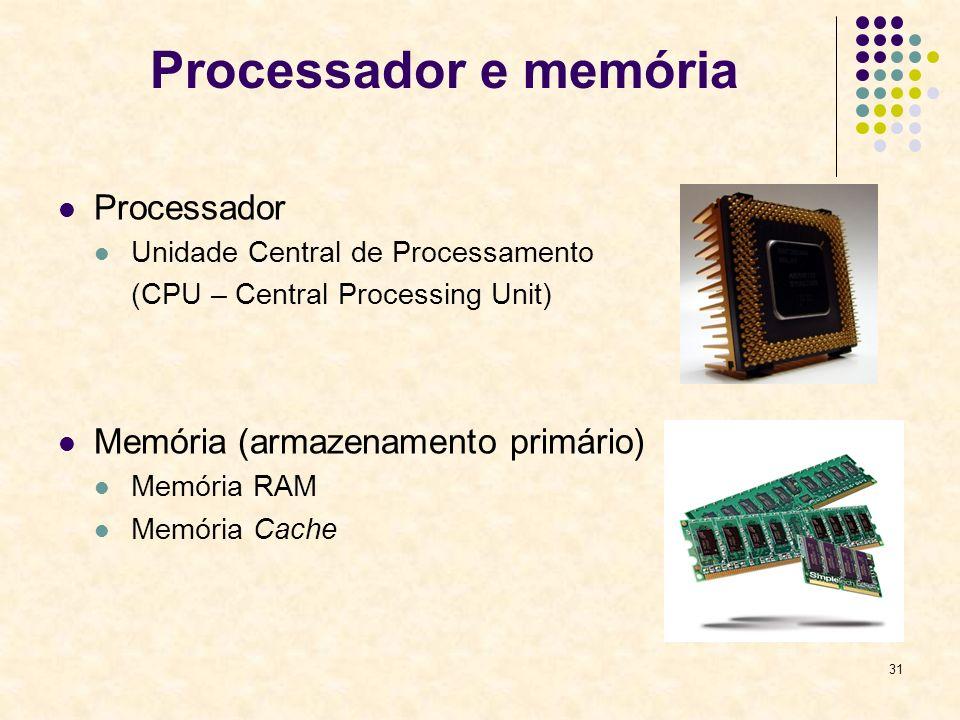 31 Processador e memória Processador Unidade Central de Processamento (CPU – Central Processing Unit) Memória (armazenamento primário) Memória RAM Mem