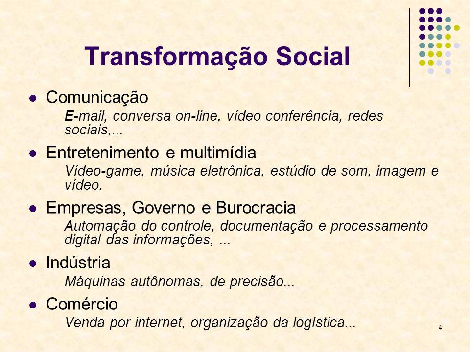 4 Transformação Social Comunicação E-mail, conversa on-line, vídeo conferência, redes sociais,... Entretenimento e multimídia Vídeo-game, música eletr