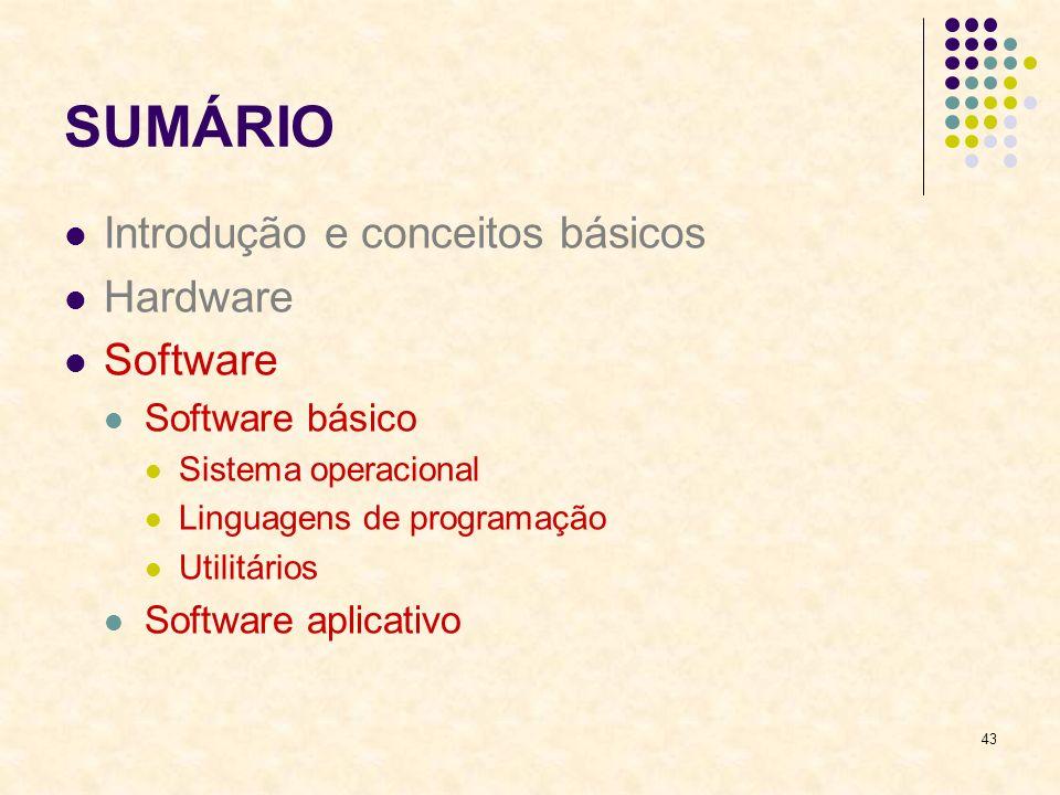 43 SUMÁRIO Introdução e conceitos básicos Hardware Software Software básico Sistema operacional Linguagens de programação Utilitários Software aplicat