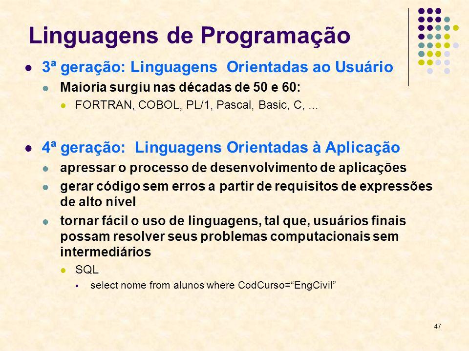 47 Linguagens de Programação 3ª geração: Linguagens Orientadas ao Usuário Maioria surgiu nas décadas de 50 e 60: FORTRAN, COBOL, PL/1, Pascal, Basic,