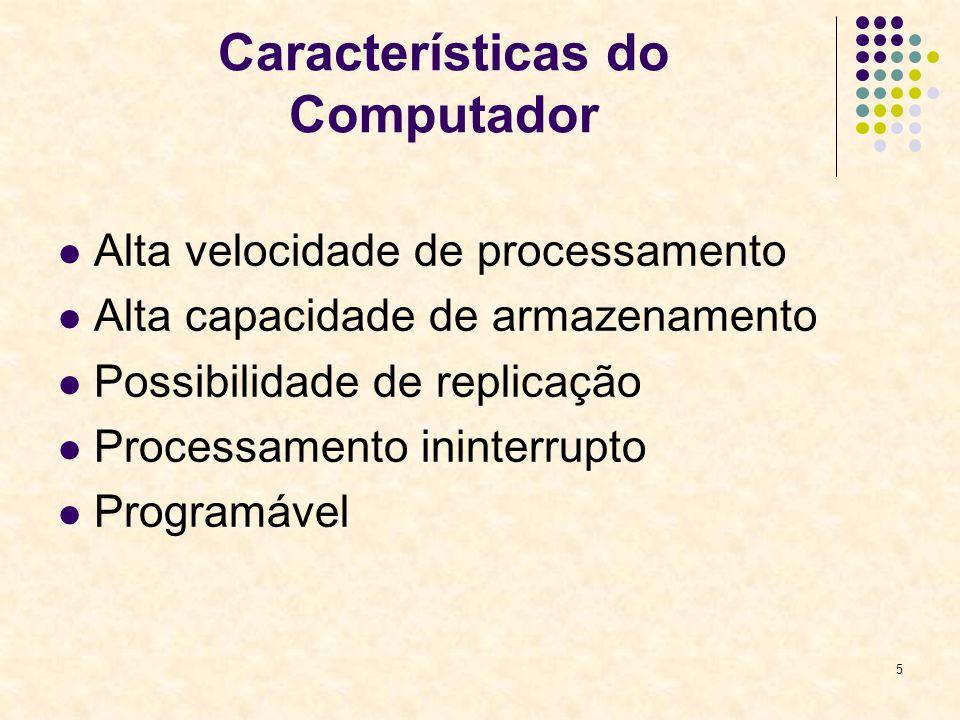 5 Características do Computador Alta velocidade de processamento Alta capacidade de armazenamento Possibilidade de replicação Processamento ininterrup