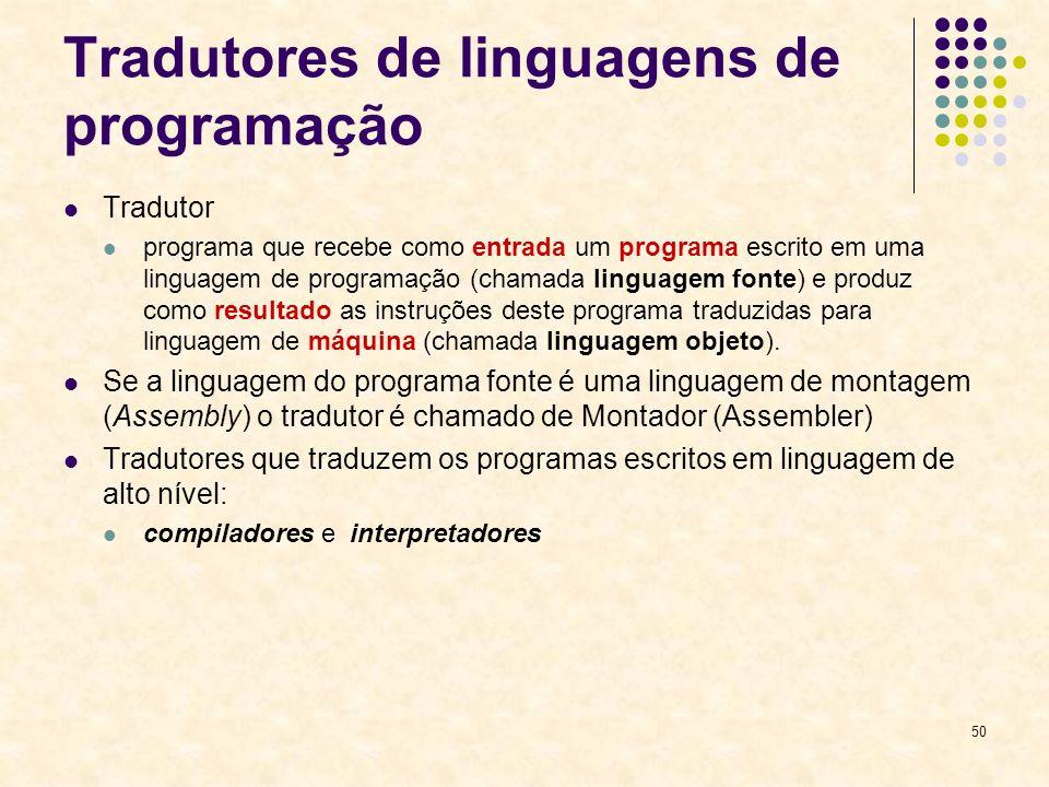 50 Tradutores de linguagens de programação Tradutor programa que recebe como entrada um programa escrito em uma linguagem de programação (chamada ling