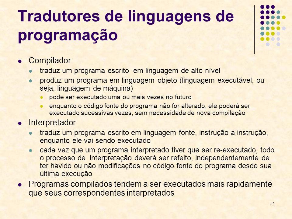 51 Tradutores de linguagens de programação Compilador traduz um programa escrito em linguagem de alto nível produz um programa em linguagem objeto (li